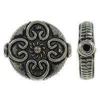 Zinklegierung flache Perlen, flache Runde, antik silberfarben plattiert, frei von Nickel, Blei & Kadmium, 13x14x4mm, Bohrung:ca. 1mm, ca. 520PCs/kg, verkauft von kg