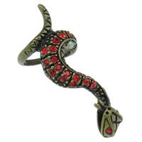 Zinklegierung Volle Fingerring, Schlange, antike Bronzefarbe plattiert, mit Strass, keine, frei von Nickel, Blei & Kadmium, 18x43x20mm, Größe:4, 10PCs/Tasche, verkauft von Tasche