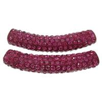 Strass Messing Perlen, Ton, mit Messing, Rohr, Platinfarbe platiniert, mit Strass, Rosa, frei von Nickel, Blei & Kadmium, 10x48mm, Bohrung:ca. 4mm, 10PCs/Tasche, verkauft von Tasche