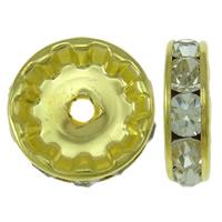 Messing Zwischenperlen, Rondell, goldfarben plattiert, mit Strass, 12x3mm, Bohrung:ca. 2.5mm, 100PCs/Tasche, verkauft von Tasche