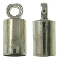 Messing Endkappe, Platinfarbe platiniert, frei von Nickel, Blei & Kadmium, 3x8mm, Bohrung:ca. 1mm, 1000PCs/Tasche, verkauft von Tasche