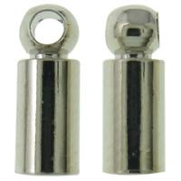 Messing Endkappe, Platinfarbe platiniert, frei von Nickel, Blei & Kadmium, 3x7mm, Bohrung:ca. 1mm, 1000PCs/Tasche, verkauft von Tasche