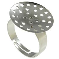 Eisen Sieb Ring Basis, Platinfarbe platiniert, frei von Nickel, Blei & Kadmium, 19x18x20.50mm, Bohrung:ca. 2-2.5mm, Größe:8.5, 400PCs/Tasche, verkauft von Tasche