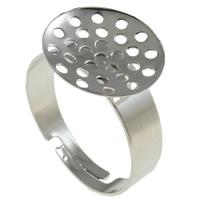Eisen Sieb Ring Basis, Platinfarbe platiniert, frei von Nickel, Blei & Kadmium, 19.50x14x20mm, Bohrung:ca. 2-2.5mm, Größe:8.5, 400PCs/Tasche, verkauft von Tasche