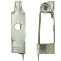 Eisen Broschen Zubehöre, Platinfarbe platiniert, frei von Nickel, Blei & Kadmium, 9x15x5mm, Bohrung:ca. 2mm, 1000PCs/Tasche, verkauft von Tasche