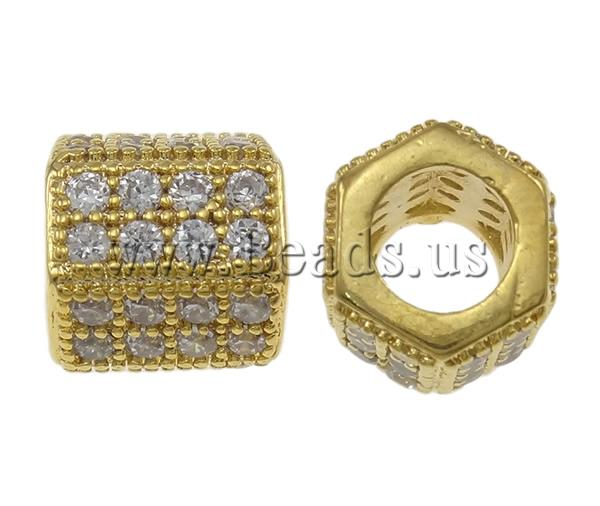 Buy Cubic Zirconia Micro Pave Brass Beads Drum gold color plated micro pave cubic zirconia nickel lead & cadmium free 8x8mm Hole:Approx 4mm Sold PC