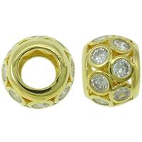 Befestigte Zirkonia Perlen, Messing, Trommel, goldfarben plattiert, Micro pave Zirkonia, frei von Nickel, Blei & Kadmium, 10x7mm, Bohrung:ca. 5mm, verkauft von PC