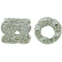 Befestigte Zirkonia Perlen, Messing, Platinfarbe platiniert, Micro pave Zirkonia & hohl, frei von Nickel, Blei & Kadmium, 8x8mm, Bohrung:ca. 4mm, verkauft von PC