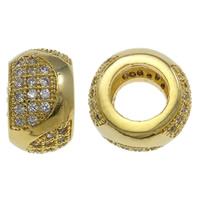 Zirkonia Micro Pave Messing Europa Bead, Rondell, goldfarben plattiert, Micro pave Zirkonia, frei von Nickel, Blei & Kadmium, 10X6.5mm, Bohrung:ca. 5mm, verkauft von PC