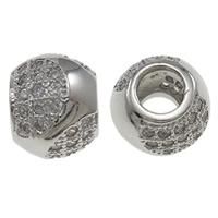 Zirkonia Micro Pave Messing Europa Bead, Trommel, Platinfarbe platiniert, Micro pave Zirkonia, frei von Nickel, Blei & Kadmium, 10x8mm, Bohrung:ca. 4mm, verkauft von PC