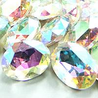 Kristall Eisen auf Nagelkopf, oval, silberfarben plattiert, Rivoli-Rückseite & facettierte, Crystal Clear, 18x25mm, 75PCs/Tasche, verkauft von Tasche