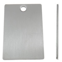 Edelstahl Etikette, Rechteck, Lasermuster & verschiedene Größen vorhanden, originale Farbe, Bohrung:ca. 3mm, 10PCs/Tasche, verkauft von Tasche