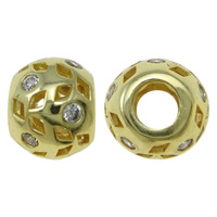Zirkonia Micro Pave Messing Europa Bead, Trommel, goldfarben plattiert, Micro pave Zirkonia & hohl, frei von Nickel, Blei & Kadmium, 12x9.5mm, Bohrung:ca. 4.5mm, verkauft von PC