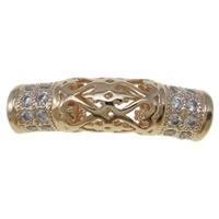 Messing Rohr Perlen, gebogenes Rohr, Rósegold-Farbe plattiert, Micro pave Zirkonia & hohl, frei von Nickel, Blei & Kadmium, 7x20mm, Bohrung:ca. 3mm, verkauft von PC