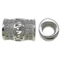 Messing Rohr Perlen, Platinfarbe platiniert, Micro pave Zirkonia & hohl, frei von Nickel, Blei & Kadmium, 8x10mm, Bohrung:ca. 4.5mm, verkauft von PC