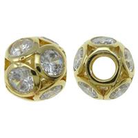 Befestigte Zirkonia Perlen, Messing, Trommel, goldfarben plattiert, Micro pave Zirkonia & hohl, frei von Nickel, Blei & Kadmium, 12mm, Bohrung:ca. 5mm, verkauft von PC