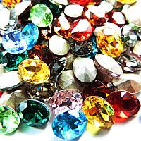 Kristall Eisen auf Nagelkopf, oval, silberfarben plattiert, facettierte, gemischte Farben, 20x30mm, 48PCs/Tasche, verkauft von Tasche