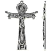 Zinklegierung Kreuz Anhänger, Jesus Kreuz, antik silberfarben plattiert, frei von Nickel, Blei & Kadmium, 50x76x5mm, Bohrung:ca. 2mm, ca. 50PCs/kg, verkauft von kg
