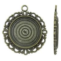 Zink-Legierung Cabochon Weissgold, Zinklegierung, Blume, antike Bronzefarbe plattiert, frei von Nickel, Blei & Kadmium, 30x34x2.50mm, Bohrung:ca. 3mm, ca. 215PCs/kg, verkauft von kg