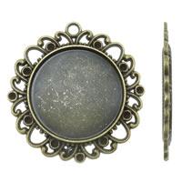 Zink-Legierung Cabochon Weissgold, Zinklegierung, Blume, antike Bronzefarbe plattiert, frei von Nickel, Blei & Kadmium, 38x39x2mm, Bohrung:ca. 2.5mm, ca. 150PCs/kg, verkauft von kg