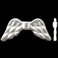 Zinklegierung Tier Perlen, Flügelform, silberfarben plattiert, frei von Nickel, Blei & Kadmium, 20x9x2.50mm, Bohrung:ca. 1.5mm, 2Taschen/Menge, ca. 625PCs/Tasche, verkauft von Menge