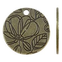 Zinklegierung flache runde Anhänger, Münze, antike Bronzefarbe plattiert, mit Blumenmuster, frei von Nickel, Blei & Kadmium, 24x1mm, Bohrung:ca. 2.5mm, ca. 300PCs/kg, verkauft von kg