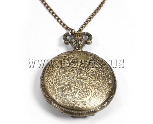 Buy Fashion Watch Necklace Zinc Alloy Flat Round antique bronze color plated twist oval chain nickel lead & cadmium free 39mm Length:Approx 31.5 Inch 10Strands/Lot Sold Lot