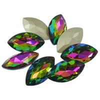 Kristall Eisen auf Nagelkopf, Pferdeauge, Rivoli-Rückseite & facettierte, 17x32mm, 48PCs/Tasche, verkauft von Tasche