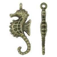 Zinklegierung Tier Anhänger, Seepferd, antike Bronzefarbe plattiert, frei von Nickel, Blei & Kadmium, 12x29x4mm, Bohrung:ca. 2mm, ca. 450PCs/kg, verkauft von kg