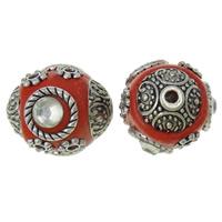 Indonesien Perlen, mit Zinklegierung, antik silberfarben plattiert, mit Strass, rot, frei von Nickel, Blei & Kadmium, 15x17x15mm, Bohrung:ca. 2mm, 100PCs/Tasche, verkauft von Tasche