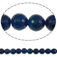 Natürliche blaue Achat Perlen, Blauer Achat, rund, facettierte, 8mm, Bohrung:ca. 1mm, Länge:ca. 15.3 ZollInch, 10SträngeStrang/Menge, ca. 49PCs/Strang, verkauft von Menge