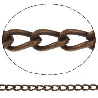Twist ovale Einsenkette, Eisen, antike Kupferfarbe plattiert, frei von Nickel, Blei & Kadmium, 8x4.50x1.60mm, Länge:ca. 50 m