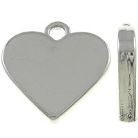 Zinklegierung Herz Anhänger, silberfarben plattiert, frei von Nickel, Blei & Kadmium, 17.50x17x3mm, Bohrung:ca. 2mm, 10PCs/Tasche, verkauft von Tasche