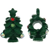 Europa Beads Weihnachten, Zinklegierung, Weihnachtsbaum, Spritzlackierung, ohne troll & mit Strass, grün, frei von Nickel, Blei & Kadmium, 18x11mm, Bohrung:ca. 4.5mm, 10PCs/Tasche, verkauft von Tasche