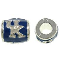 Zink Legierung Europa Alphabet Perlen, Zinklegierung, Trommel, silberfarben plattiert, mit Brief Muster & ohne troll & Emaille, frei von Nickel, Blei & Kadmium, 10.5x11mm, Bohrung:ca. 4.5mm, 10PCs/Tasche, verkauft von Tasche