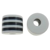 Gestreifte Harz Perlen, Zylinder, Streifen, weiß, 10x8.5mm, Bohrung:ca. 4mm, 1000PCs/Tasche, verkauft von Tasche