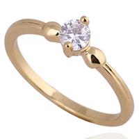 Gets® Finger Ring, Messing, 18 K vergoldet, mit kubischem Zirkonia, frei von Nickel, Blei & Kadmium, 4mm, Größe:9, verkauft von PC