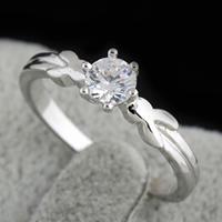 Gets® Finger Ring, Messing, platiniert, mit kubischem Zirkonia, frei von Nickel, Blei & Kadmium, 5mm, Größe:7.5, verkauft von PC