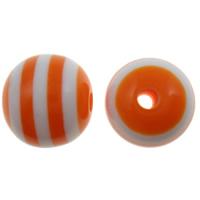 Gestreifte Harz Perlen, rund, Streifen, rote Orange, 8mm, Bohrung:ca. 2mm, 1000PCs/Tasche, verkauft von Tasche