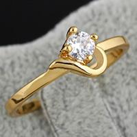 Gets® Finger Ring, Messing, 18 K vergoldet, mit kubischem Zirkonia, frei von Nickel, Blei & Kadmium, 4mm, 8x7mm, Größe:6.5, verkauft von PC
