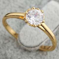 Gets® Finger Ring, Messing, 18 K vergoldet, mit kubischem Zirkonia, frei von Nickel, Blei & Kadmium, 6mm, Größe:7.5, verkauft von PC
