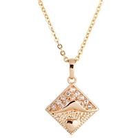 Gets® Schmuck Halskette, Messing, Rhombus, 18 K vergoldet, Oval-Kette & mit kubischem Zirkonia, frei von Nickel, Blei & Kadmium, 18x25mm, verkauft per ca. 18 ZollInch Strang