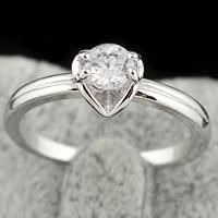 Gets® Finger Ring, Messing, platiniert, mit kubischem Zirkonia, frei von Nickel, Blei & Kadmium, 4mm, Größe:6.5, verkauft von PC