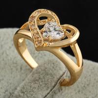 Gets® Finger Ring, Messing, Herz, 18 K vergoldet, mit kubischem Zirkonia, frei von Nickel, Blei & Kadmium, 14mm, Größe:7, verkauft von PC
