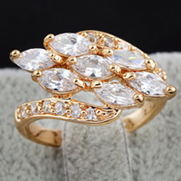 Gets® Finger Ring, Messing, 18 K vergoldet, mit kubischem Zirkonia, frei von Nickel, Blei & Kadmium, 12mm, Größe:8, verkauft von PC