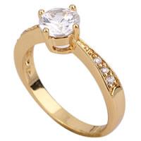 Gets® Finger Ring, Messing, 18 K vergoldet, mit kubischem Zirkonia, frei von Nickel, Blei & Kadmium, 6mm, Größe:8, verkauft von PC