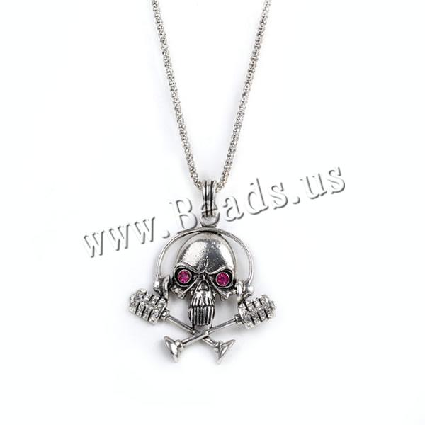 Buy Gets® Jewelry Necklace Zinc Alloy iron chain Skull antique bronze color plated lantern chain & rhinestone nickel lead & cadmium free 40x73mm Sold Per Approx 27.5 Inch Strand