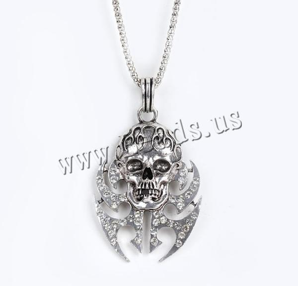 Buy Gets® Jewelry Necklace Zinc Alloy iron chain Skull antique bronze color plated lantern chain & rhinestone nickel lead & cadmium free 46x80mm Sold Per Approx 27.5 Inch Strand