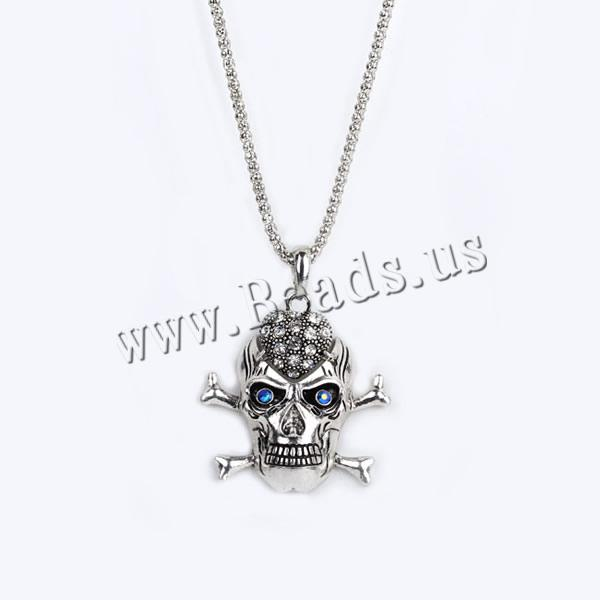 Buy Gets® Jewelry Necklace Zinc Alloy iron chain Skull antique bronze color plated lantern chain & rhinestone nickel lead & cadmium free 27x60mm Sold Per Approx 27.5 Inch Strand