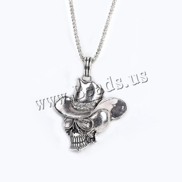 Buy Gets® Jewelry Necklace Zinc Alloy iron chain Skull antique bronze color plated lantern chain & rhinestone nickel lead & cadmium free 55x70mm Sold Per Approx 27.5 Inch Strand